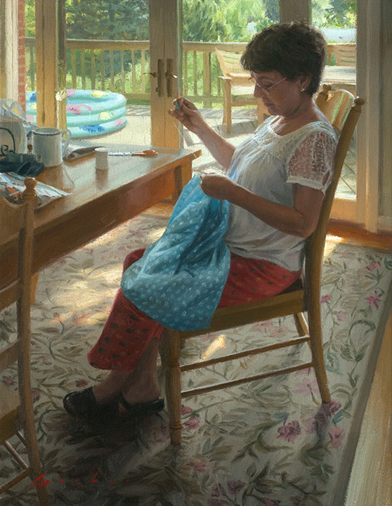 painting titled abuela sewing