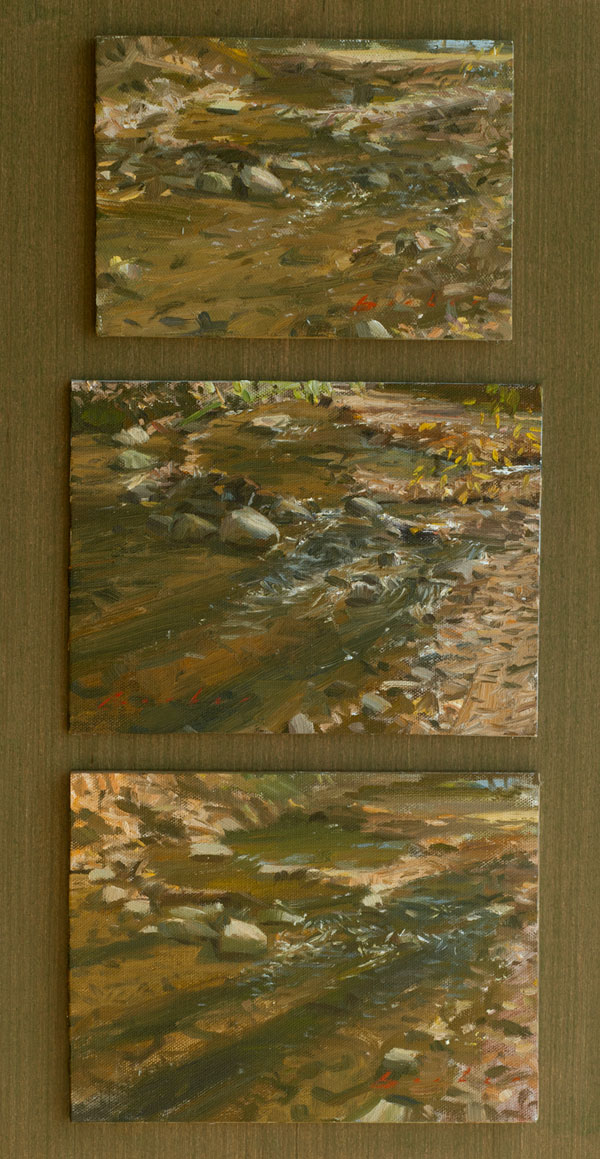 three paintings titled autumn trio