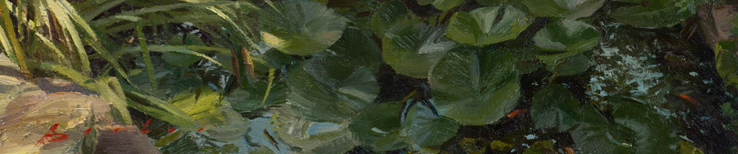 detail of painting titled evening pond